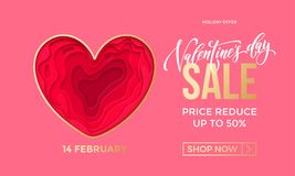 Valentines Day sale banner design template of heart papercard on pink background. Vector 14 February Valentine day holiday sale pr. Vector Valentines Day Sale Royalty Free Stock Images