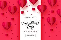 Vector valentines day sale paper origami heart. Vector valentines day sale card template with origami paper hot air balloons in heart shape background. Holiday Stock Photos