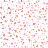 Vector Valentines day seamless pattern with colorful hearts white background. Stock Images