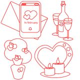 Vector valentines day set bouque, vine. candles and notification stock illustration