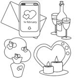 Vector valentines day set bouque, vine. candles and notification vector illustration