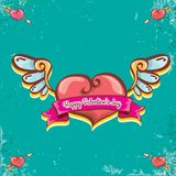 Vector valentines day vintage cartoon tattoo style red heart label with angel wings and cartoon vintage pink ribbon on. Turquoise grunge background. Valentines Royalty Free Stock Photography