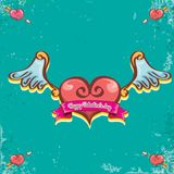 Vector valentines day vintage cartoon tattoo style red heart label with angel wings and cartoon vintage pink ribbon on. Turquoise grunge background. Valentines Stock Image