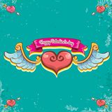 Vector valentines day vintage cartoon tattoo style red heart label with angel wings and cartoon vintage pink ribbon on. Turquoise grunge background. Valentines Stock Photos