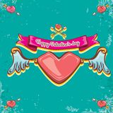 Vector valentines day vintage cartoon tattoo style red heart label with angel wings and cartoon vintage pink ribbon on. Turquoise grunge background. Valentines Royalty Free Stock Image