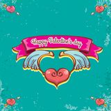 Vector valentines day vintage cartoon tattoo style red heart label with angel wings and cartoon vintage pink ribbon on. Turquoise grunge background. Valentines Royalty Free Stock Images