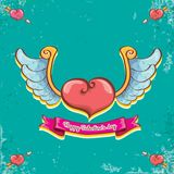 Vector valentines day vintage cartoon tattoo style red heart label with angel wings and cartoon vintage pink ribbon on. Turquoise grunge background. Valentines Royalty Free Stock Photos