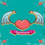 Vector valentines day vintage cartoon tattoo style red heart label with angel wings and cartoon vintage pink ribbon on. Turquoise grunge background. Valentines Royalty Free Stock Photo