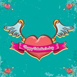 Vector valentines day vintage cartoon tattoo style red heart label with angel wings and cartoon vintage pink ribbon on. Turquoise grunge background. Valentines Stock Photography