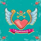 Vector valentines day vintage cartoon tattoo style red heart label with angel wings and cartoon vintage pink ribbon on. Turquoise grunge background. Valentines Stock Images