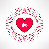 Vector valentines heart on tribal outburst background with 14 date inside. Love and romance design element Stock Photography