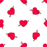 Vector valentines hearts with arrows seamless pattern. Wedding background. Love and passion design element Royalty Free Stock Images