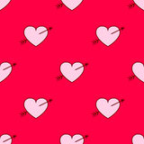 Vector valentines hearts with arrows seamless pattern. Wedding background. Love and passion design element Stock Photo