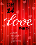 Vector Valentines party poster design. Template of flyer or poster. Stock Photos