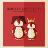 Vector valentines's day card with illustration of two penguins in red square frame Stock Images