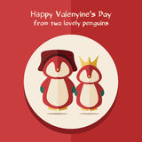 Vector valentines's day card with illustration of two red penguins in round frame Royalty Free Stock Images