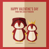 Vector valentines's day card with illustration of two red penguins in square frame Stock Photography