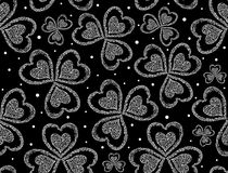 Vector valentines seamless pattern with figured clover leaves. St. Patrick's day background Stock Photos
