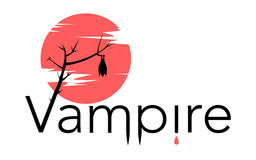 Vector vampire sign with bloody moon Royalty Free Stock Images
