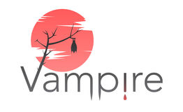 Vector vampire text with bloody moon Stock Photos