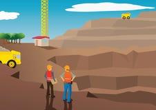 Vector van arbeiders op een mijnbouwgebied Stock Fotografie