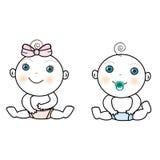Vector van babymeisje en babyjongen Royalty-vrije Stock Foto