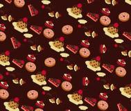 Vector van Bakkerijpatroon met Chocoladeachtergrond Stock Afbeelding