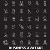 Vector van bedrijfsavatars de editable die lijnpictogrammen op zwarte achtergrond wordt geplaatst Bedrijfsavatars witte overzicht royalty-vrije illustratie