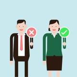 Vector van Bedrijfsman en vrouwenholdings verkeerd en juist teken Stock Afbeeldingen