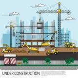 Vector van bezige bouwwerf met arbeiders, vrachtwagen, kraan en zwaar materiaal die aan de bouw structuur met stadsmening werken  vector illustratie