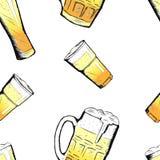 Vector van bierglazen en mokken ter beschikking getrokken stijl Royalty-vrije Stock Afbeelding