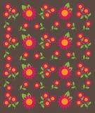 Vector van Bloempatroon op Bruine Achtergrond Stock Afbeeldingen