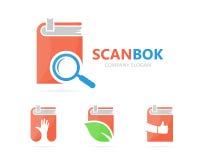 Vector van boek en loupe embleemcombinatie Bibliotheek en vergrootglassymbool of pictogram Unieke boekhandel en onderzoek Stock Foto's
