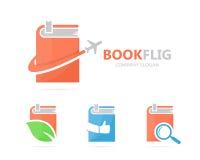 Vector van boek en vliegtuigembleemcombinatie Bibliotheek en reissymbool of pictogram Unieke boekhandel en vlucht logotype Royalty-vrije Stock Afbeelding