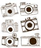 Vector van Camera Uit de vrije hand Stock Afbeeldingen