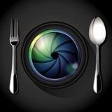 Vector van Cameralens met vork en lepel, Royalty-vrije Stock Foto's