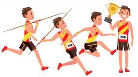 Vector van de atletiek de Mannelijke Speler Het spelen in Verschillend stelt Mensenatleet Geïsoleerd op de Witte Illustratie van  royalty-vrije illustratie