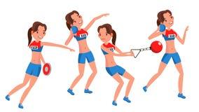 Vector van de atletiek de Vrouwelijke Speler Het spelen in Verschillend stelt Vrouw Het Beeldverhaalkarakter van atletenisolated  vector illustratie
