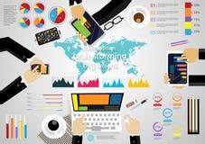 Vector van de de bedrijfs werkplaatsbrainstorming van illustratieinfographic modern Idee en Concept met grafiek, telefoon, Notiti vector illustratie