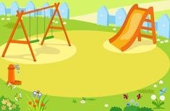 Vector van de beeldverhaal de lege speelplaats Stock Foto's