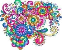 Vector van de Bloemen en van de Wervelingen van de Henna van de krabbel de Abstracte Stock Afbeelding