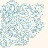 Vector van de Bloemen en van de Wervelingen van de Henna van de krabbel de Abstracte Stock Foto