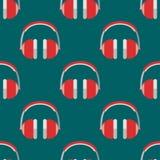 Vector van de de musicus expressief tik hoofdtelefoons van het achtergrondhiphop naadloos patroon de muziekinstrument vector illustratie