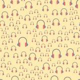 Vector van de de musicus expressief tik hoofdtelefoons van het achtergrondhiphop naadloos patroon de muziekinstrument stock illustratie