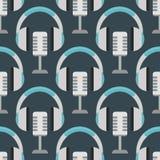 Vector van de de musicus expressief tik hoofdtelefoons van het achtergrondhiphop naadloos patroon de muziekinstrument Stock Afbeelding