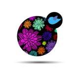Vector van de de vogelkunst van de aardillustratie het ontwerp grafische bloemen stock illustratie