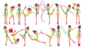 Vector van de gymnastiek de Vrouwelijke Speler Gymnastiek- hoepel demonstrate presentatie Het spelen in Verschillend stelt Vrouw  vector illustratie