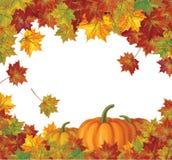 Vector van de herfstbladeren en pompoenen achtergrond Royalty-vrije Stock Foto's