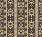 Vector van de van het achtergrond damast naadloos retro patroon van de de kam Elegant luxe spiraalvormig kromme dwarsbloem bruin  royalty-vrije illustratie