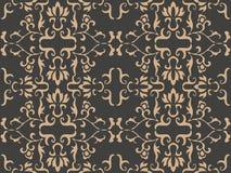 Vector van de van het achtergrond damast naadloze retro patroon van het het kaderblad spiraalvormige kromme dwars botnaic tuin de stock illustratie